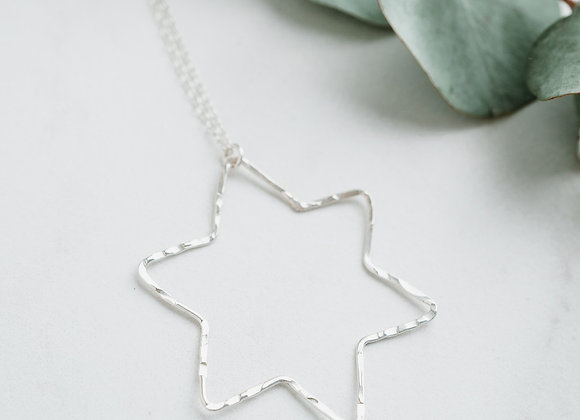 Large Star Pendant, Silver Star Necklace, Silver Wire Necklace
