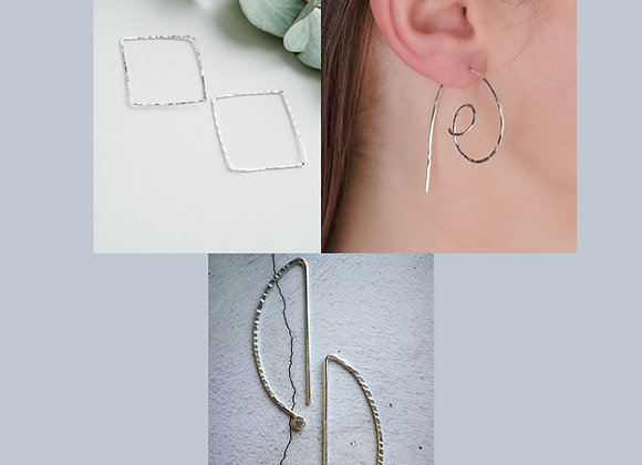 Set of Three Sterling Silver Wire Earrings