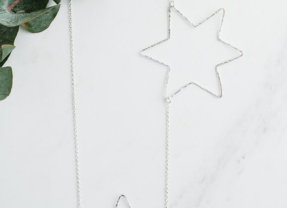 Long sterling silver star necklace, layering necklace,handmade star necklace