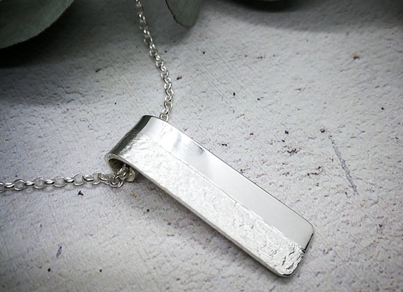 Sterling silver textured necklace, polished and textured necklace