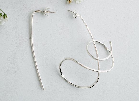 Sterling silver loop miss matched earrings, handmade long silver earrings