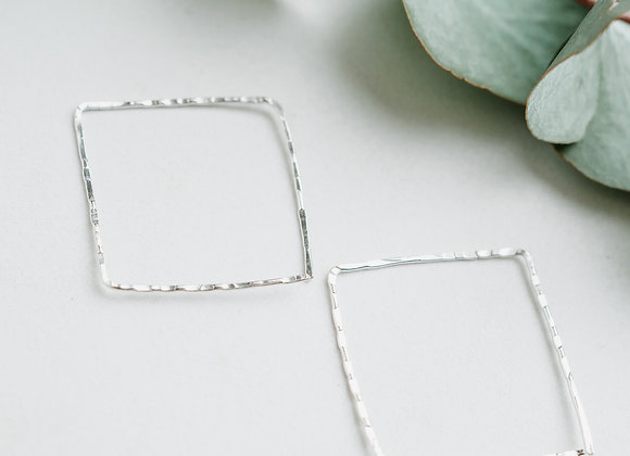 Large Square Silver Hoops, Textured Sterling Silver Square Hoops