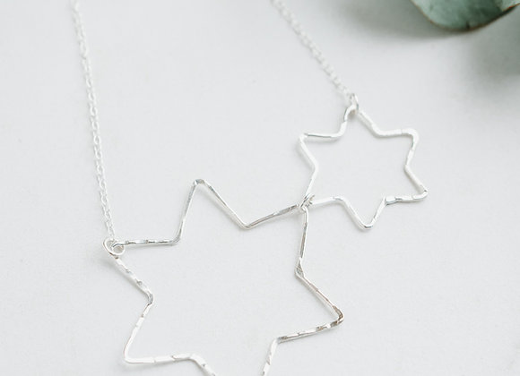 Silver Star Necklace, Double Star Necklace, Handmade Double Necklacee