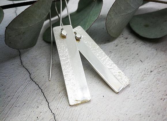 Sterling Silver Textured Earrings, Silver Dangly Earrings