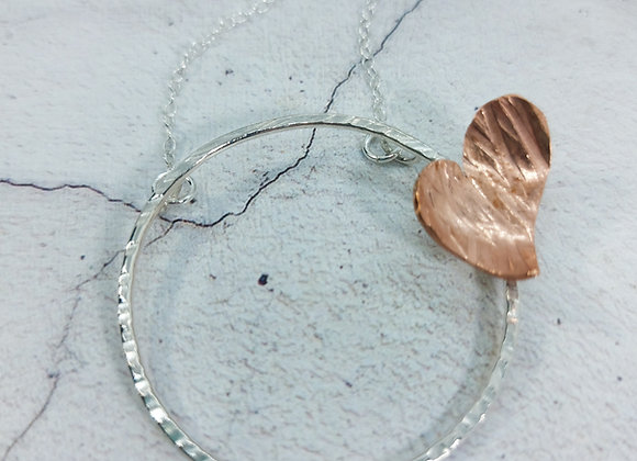 Sterling Silver Hoop and Copper Heart Necklace