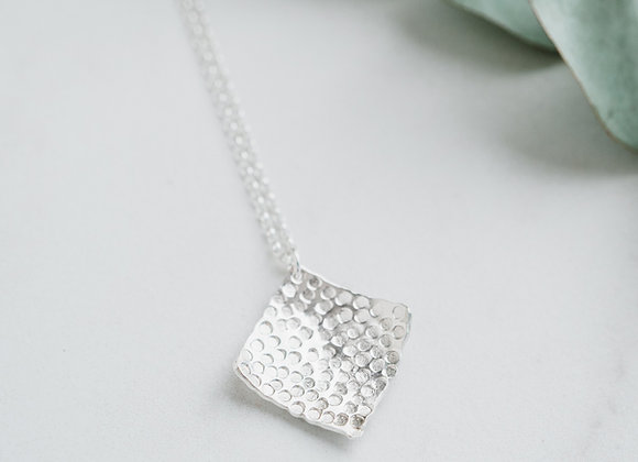Silver Square textured pendant, Handmade sterling silver hammered pendant