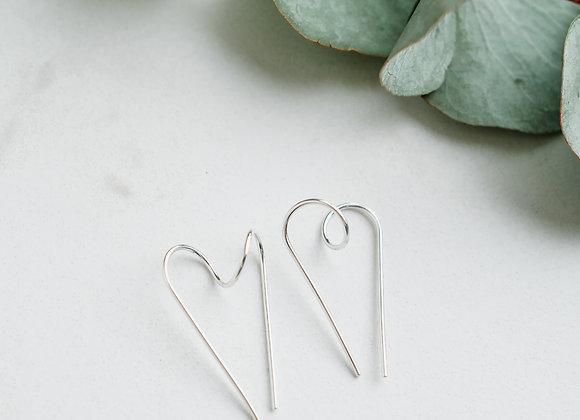 Sterling Silver Twisted Heart Earrings, Handmade Oxodised Silver Heart Hoops