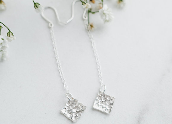 Silver Square Earrings,Long Dangly Square Textured Earrings, Chain Earrings
