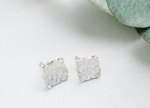 Sterling Silver handmade stud earrings, hammered stud earrings, square studs