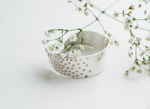 Solid Sterling Silver Cuff, Handmade Textured Cuff, Broad Bangle