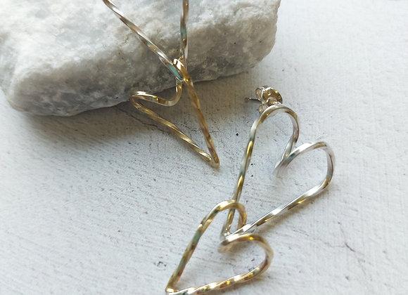 Sterling Silver Twisted Heart Earrings
