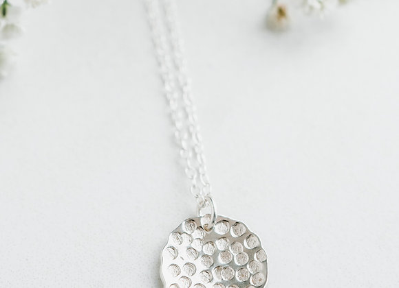 Silver textured round pendant, round handmade pendant, sterling silver necklace