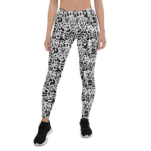 Black & White Graffiti Leggings