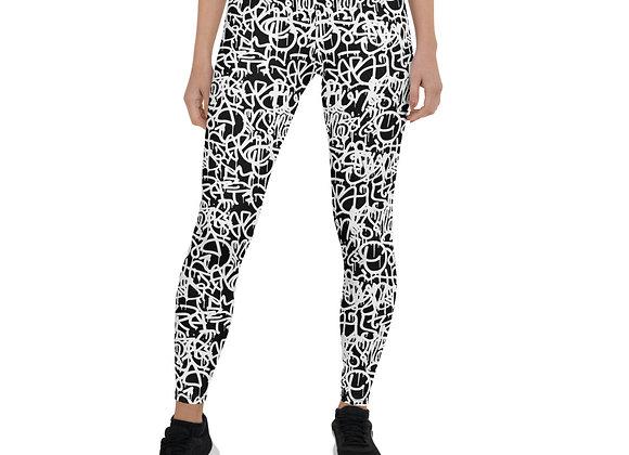 Black & White Graffiti Leggings