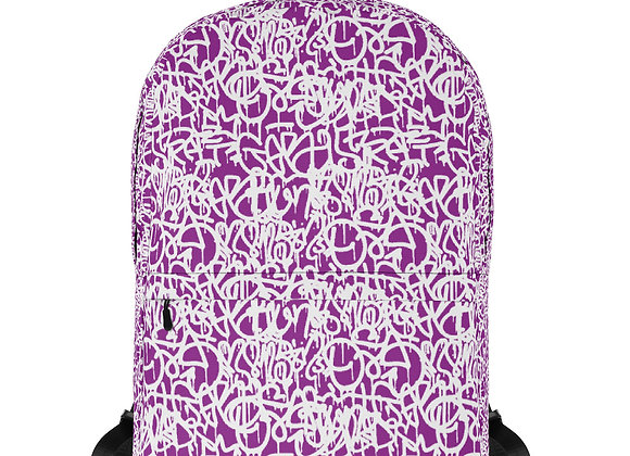 Purple & White Graffiti Backpack