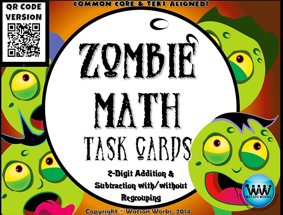 Zombie Math Task Cards - 2 Digit Addition and Subtraction with/without Regroupin