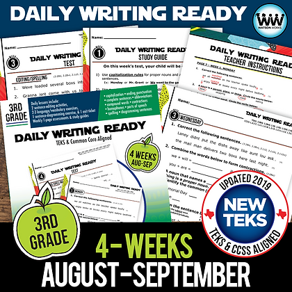 3rd Grade Daily Language Review for August/September New ELA TEKS