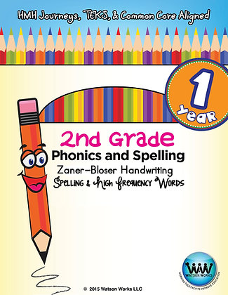 2nd Grade Phonics and Spelling Zaner-Bloser - 1 year