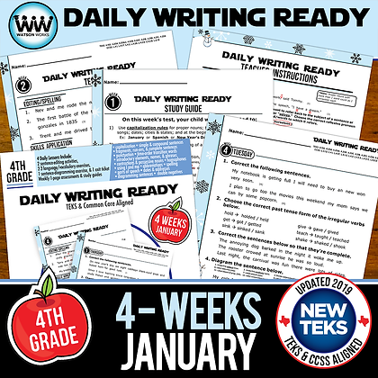 4th Grade Daily Language Review for January New ELA TEKS