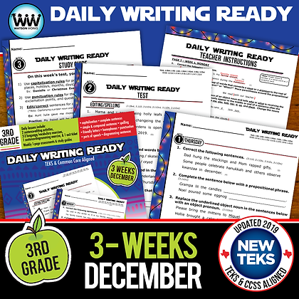 3rd Grade December Daily Language Review