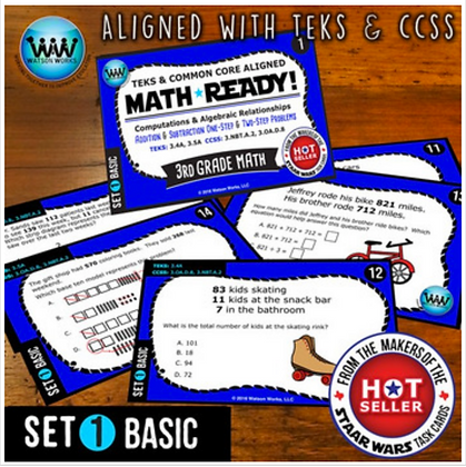 3rd Grade Math Ready Task Cards: Add & Subtract 1-Step & 2-Step Problems BASIC 1