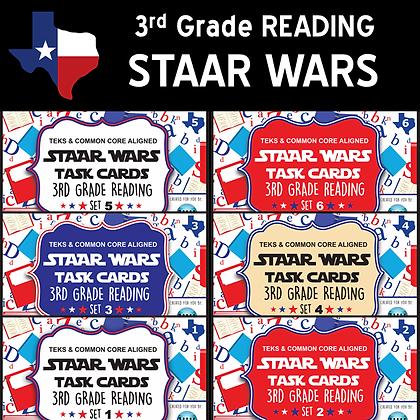 3rd Grade STAAR WARS Reading Task Cards Bundle - SETS 1-6