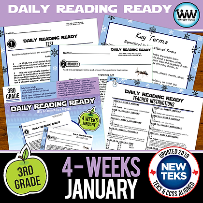 3rd Grade Daily Reading Spiral Review for January New ELA TEKS