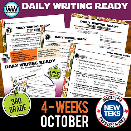 3rd Grade October Daily Language Review