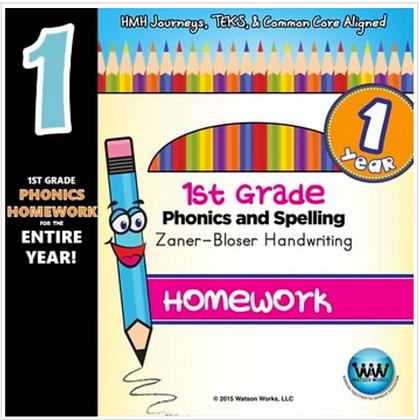1st Graded Phonics Homerwork Zaner-Bloser- 1 Year