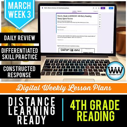 4th Grade Reading Distance Learning March Week 3 | Google Apps | New ELAR TEKS