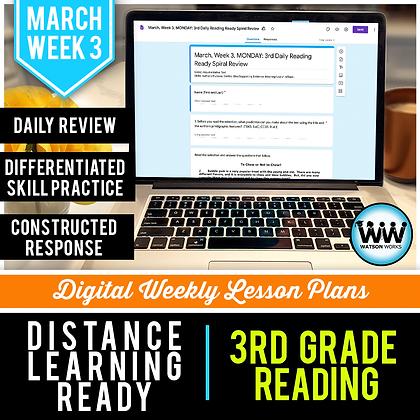 3rd Grade Reading Distance Learning March Week 3 | Google Apps | New ELAR TEKS