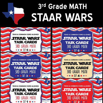 3rd Grade - STAAR Wars Math Task Cards Bundle