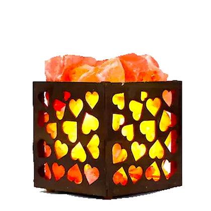 HEART WOODEN HIMALAYAN SALT LAMP BASKET