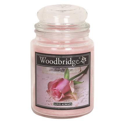 WOODBRIDGE LOVE ALWAYS LARGE SCENTED CANDLE JAR