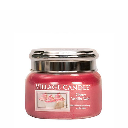 VILLAGE CANDLE CHERRY VANILLA SWIRL SMALL JAR CANDLE