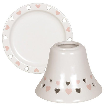 AROMA PINK HEART CANDLE SHADE AND PLATE SET
