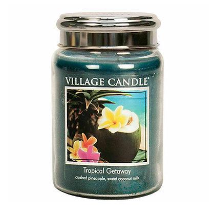 VILLAGE CANDLE TROPICAL GETAWAY LARGE JAR CANDLE