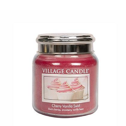 VILLAGE CANDLE CHERRY VANILLA SWIRL MEDIUM JAR CANDLE