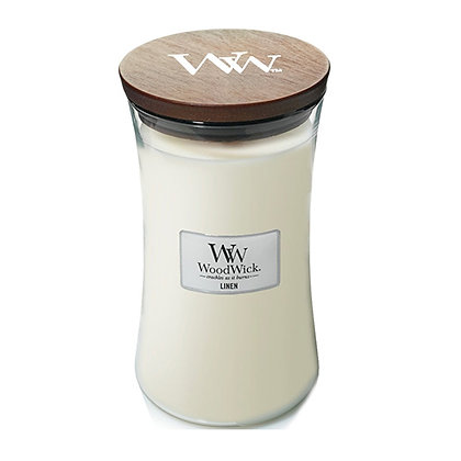 WOODWICK LINEN LARGE HOURGLASS CANDLE WITH PLUSWICK®