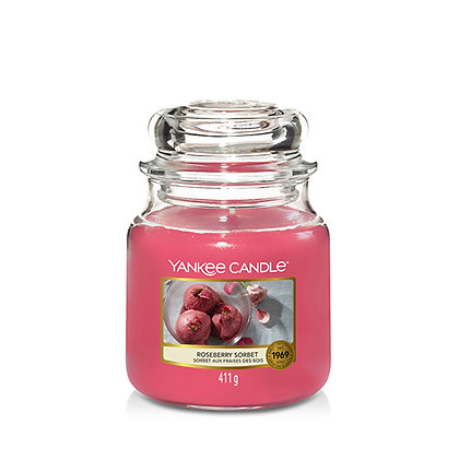 YANKEE CANDLE ROSEBERRY SORBET MEDIUM JAR CANDLE