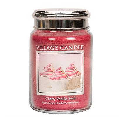 VILLAGE CANDLE CHERRY VANILLA SWIRL LARGE JAR CANDLE