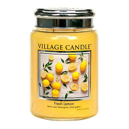 VILLAGE CANDLE FRESH LEMON LARGE JAR CANDLE