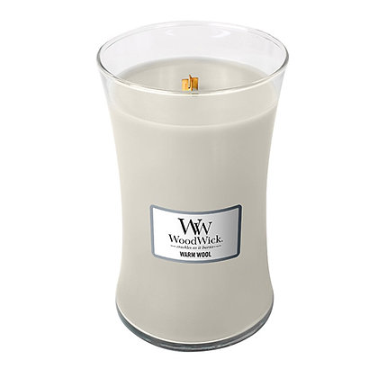 WOODWICK WARM WOOL LARGE HOURGLASS CANDLE WITH PLUSWICK®