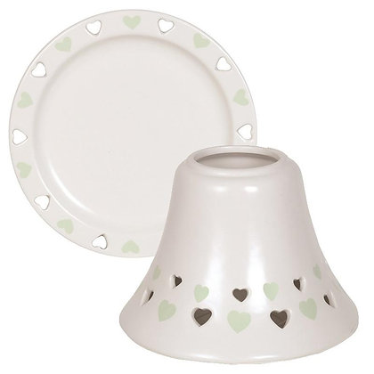 AROMA GREEN HEART CANDLE SHADE AND PLATE SET