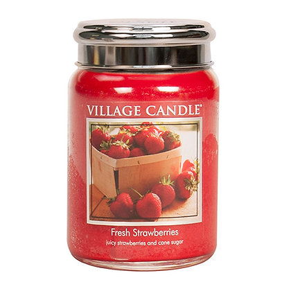 VILLAGE CANDLE FRESH STRAWBERRY LARGE JAR CANDLE
