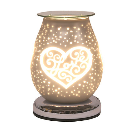 AROMA WHITE SATIN LOVE HEART ELECTRIC WAX MELT BURNER