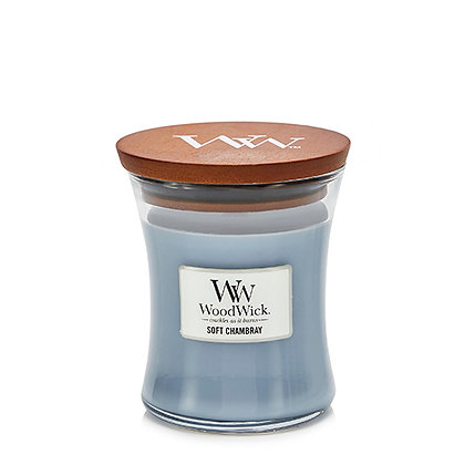 WOODWICK  SOFT CHAMBRAY MEDIUM HOURGLASS CANDLE WITH PLUSWICK®
