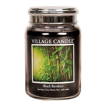 VILLAGE CANDLE BLACK BAMBOO LARGE JAR CANDLE