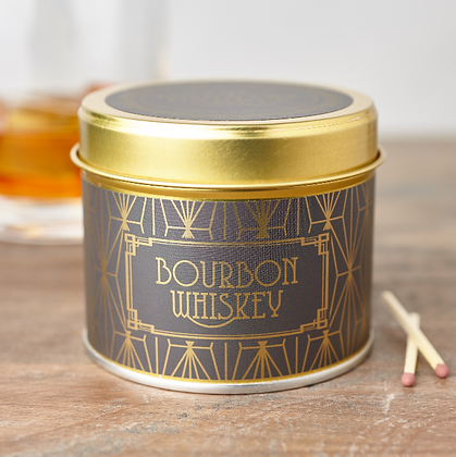 HAPPY HOUR BOURBON WHISKEY TIN CANDLE