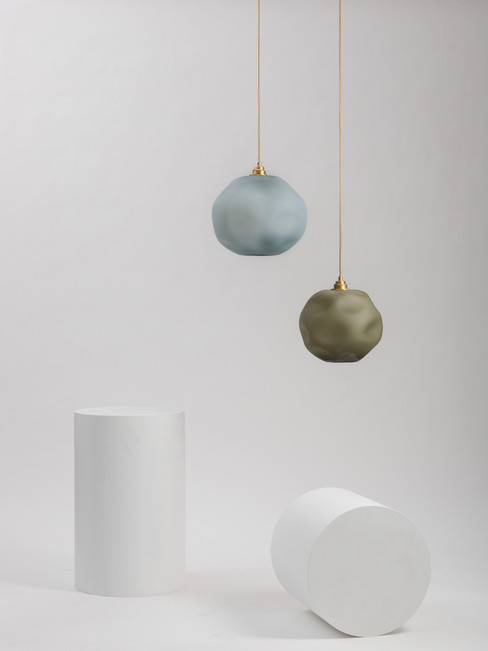 Frosted Opal Pebble Ellipses - Brushed Brass Fixture